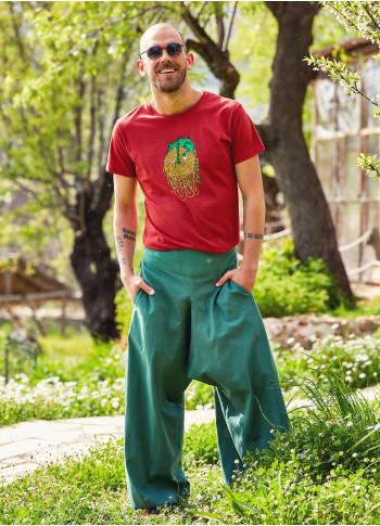 Beli Lastikli Cepli Erkek Yeşil Şalvar Pantolon
