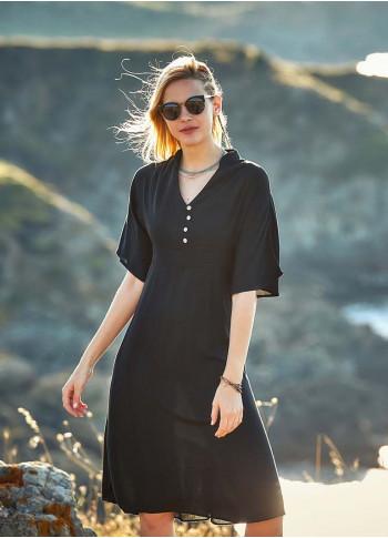 Dik V Yaka Düğmeli Gizli Fermuarlı Siyah Elbise