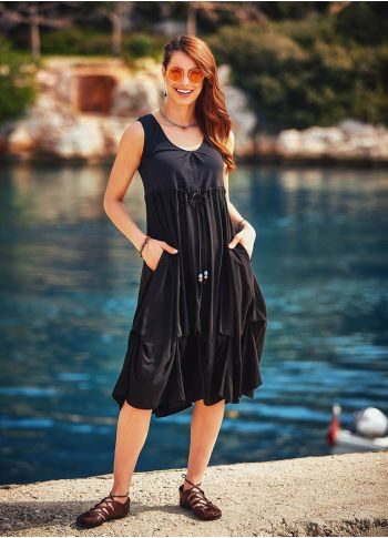 Otantik Boncuk Süslemeli Siyah Günlük Uzun Elbise