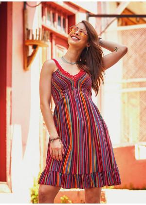 Etnik Kırmızı Çizgili Dantel Yaka Askılı Elbise