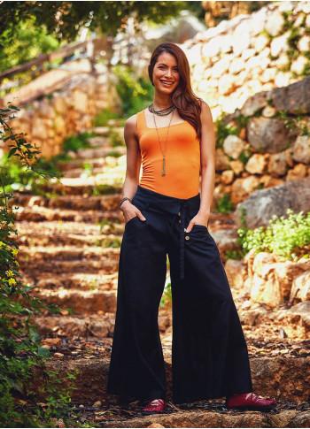 Düşük Bel Düğmeli Kadın Bol Paça Siyah Pantolon