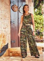Palmiye Desenli Düğmeli Beli Lastikli Tulum Elbise