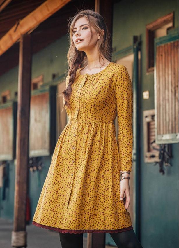 Nervürlü Yaka Dantelli Uzun Kollu Hardal Elbise