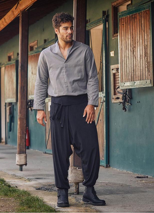 Siyah Balıkçı Erkek Şalvar Pantolon