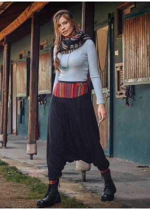 Garnili Lastikli Kadın Çizgili Kırmızı Pantolon