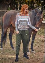 Cep Detaylı Lastikli Haki Kadın Kışlık Pantolon