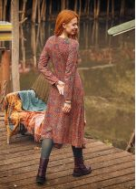 Retro Desenli Uzun Kollu Asimetrik Kesim Kışlık Kadın Elbise