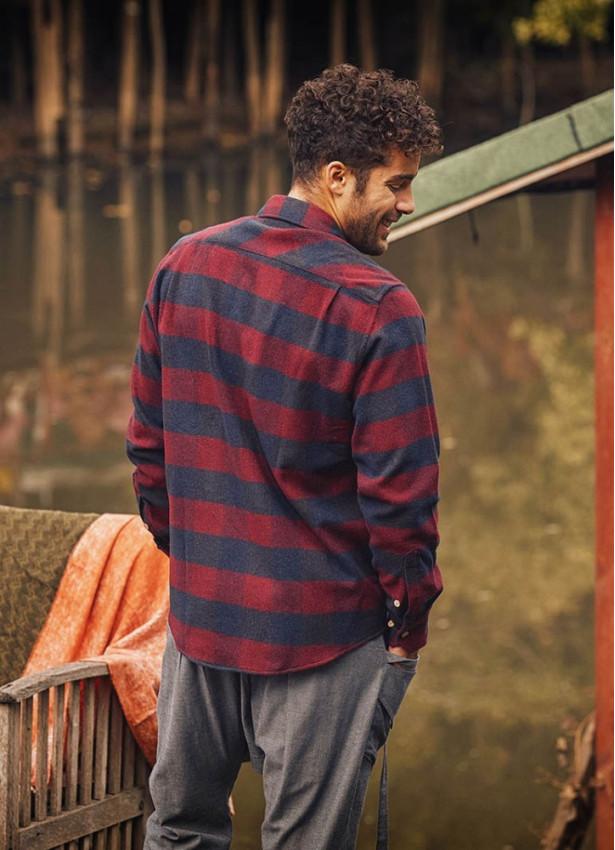 Uzun Kollu Bordo Ekose Oduncu Erkek Gömleği