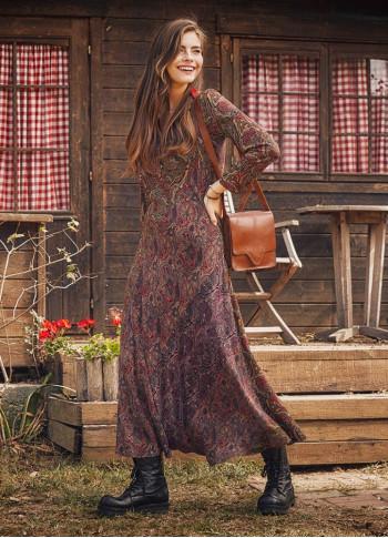 Otantik Desenli Uzun Kollu Kışlık Patch Elbise