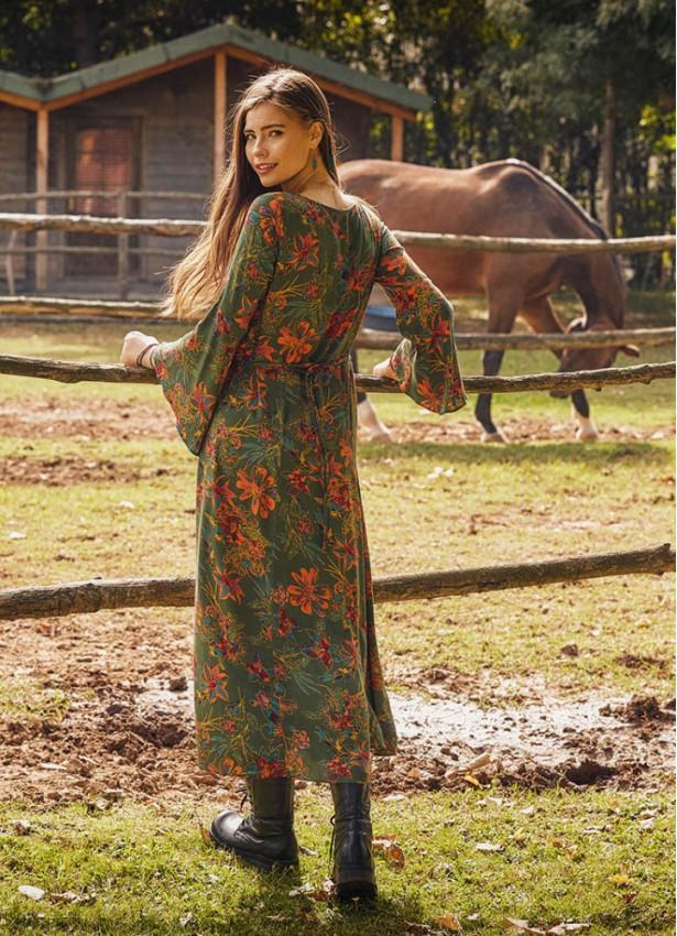 Kayık Yaka Belden Bağlamalı İspanyol Kol Yeşil Çiçekli Kadın Elbise