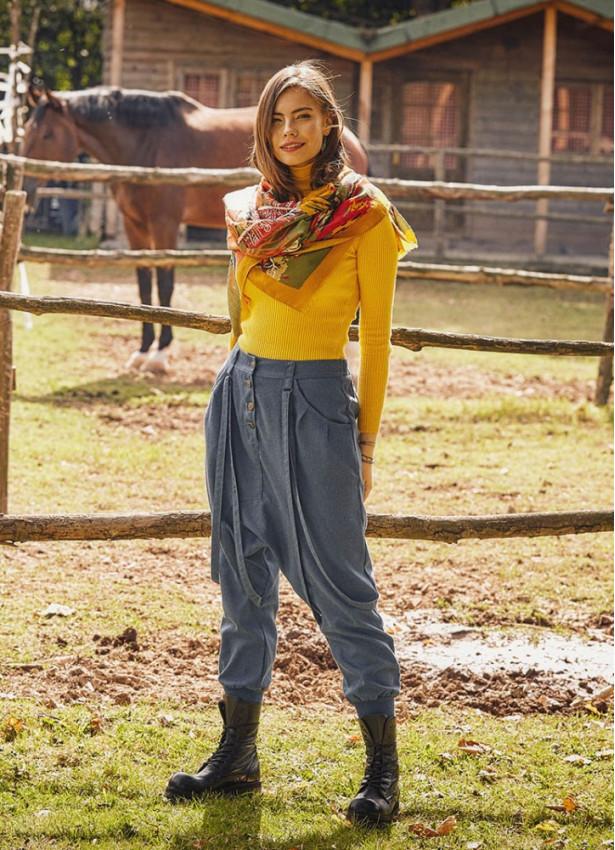 Elastik Bilek Bağcıklı Kadın İndigo Şalvar Pantolon