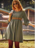 Haki Dantel Detaylı Yarım Kollu Kışlık Kadın Elbise