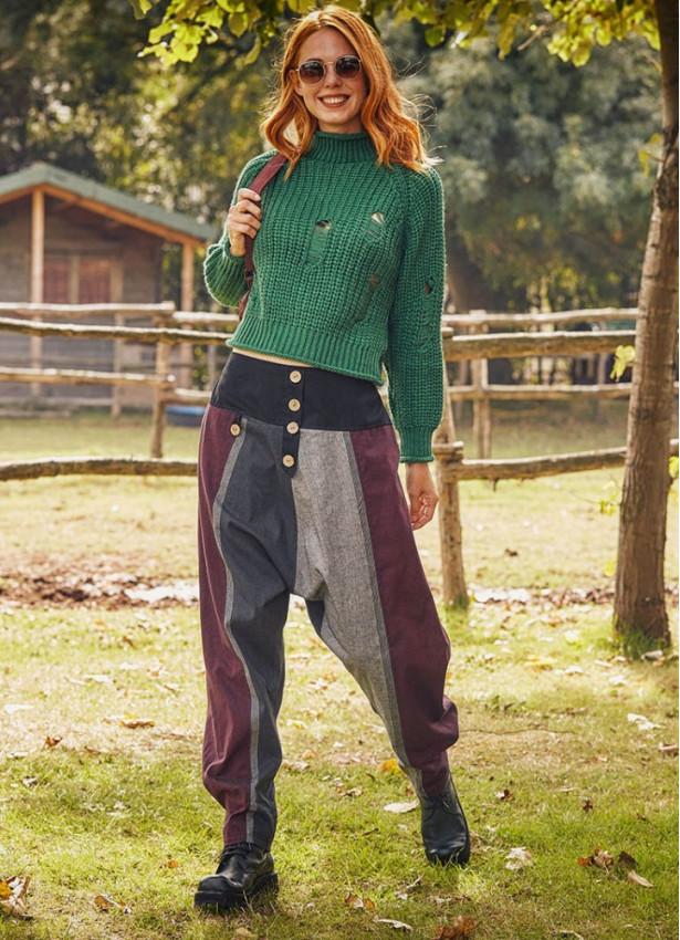 Bordo Bohem Tarz Şık Şalvar Kadın Pantolon