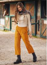 Cep Detaylı Lastikli Hardal Kadın Kışlık Pantolon