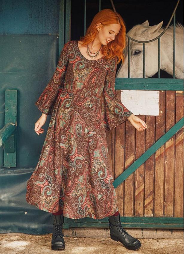 Etnik Desenli Kayık Yaka Belden Bağlamalı İspanyol Kol Kadın Elbise