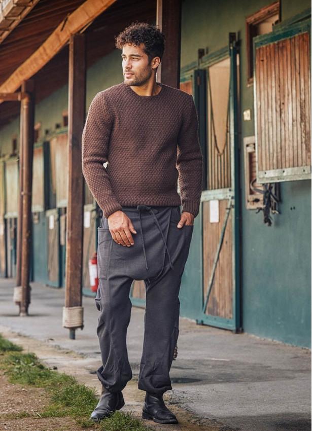 Kruvaze Bağcıklı Elastik Paça Kışlık Erkek Şalvar Pantolon