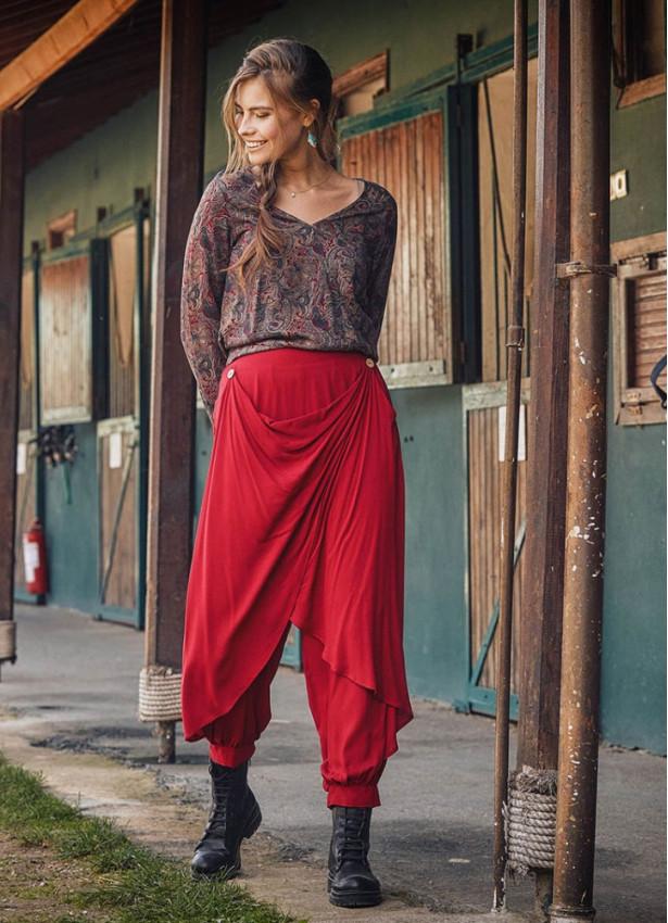 Kırmızı Şal Desen Kruvaze Kadın Bluz