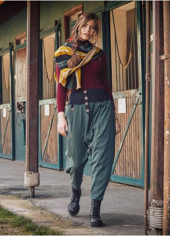 Yeşil Bohem Tarz Şık Şalvar Kadın Pantolon