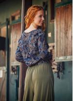 Lacivert Şal Desen Kruvaze Kadın Bluz