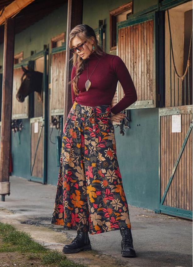Çiçek Desenli Metal Düğmeli Kışlık Kadın Bol Paça Siyah Pantolon