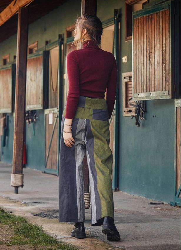 Beli Bağlamalı Rahat Kesim Kışlık Yeşil Balıkçı Pantolon