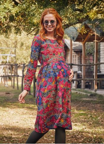 Etnik Desen Kayık Yaka Büzgülü Hamile Uzun Kollu Elbise