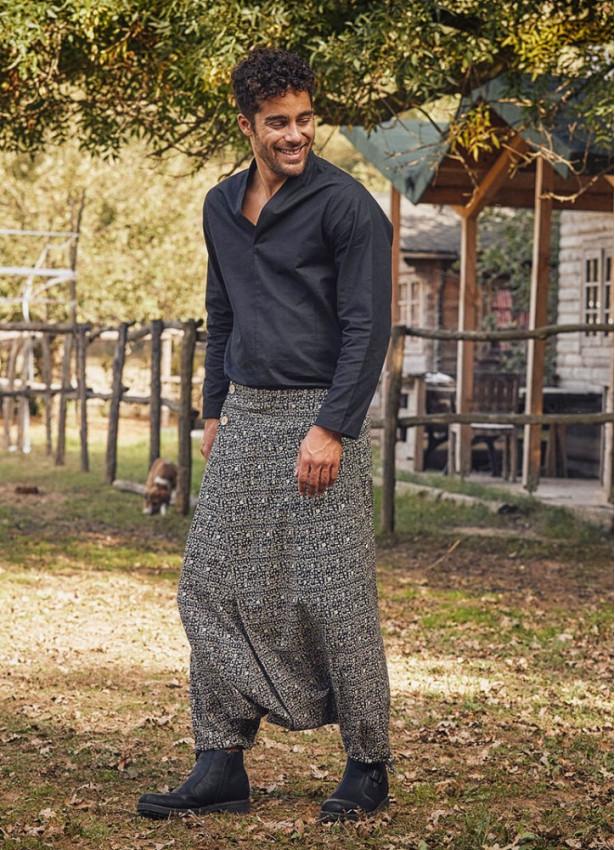 Anvelop Beli Lastikli Hitit Desenli Erkek Şalvar Pantolon
