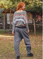 Gri Bohem Tarz Şık Şalvar Kadın Pantolon