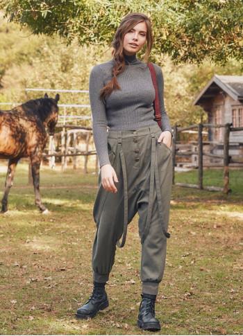 Elastik Bilekli Yan Cepli Haki Şalvar Pantolon