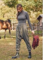 Elastik Bilekli Yan Cepli Haki Kışlık Şalvar Pantolon
