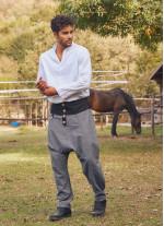 Gri Bohem Tarz Şık Şalvar Erkek Pantolon
