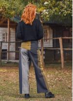 Beli Bağlamalı Rahat Kesim Kışlık Hardal Balıkçı Pantolon