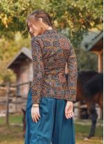 Çiçekli Çapraz Düğmeli Uzun Kollu Kahve Bluz