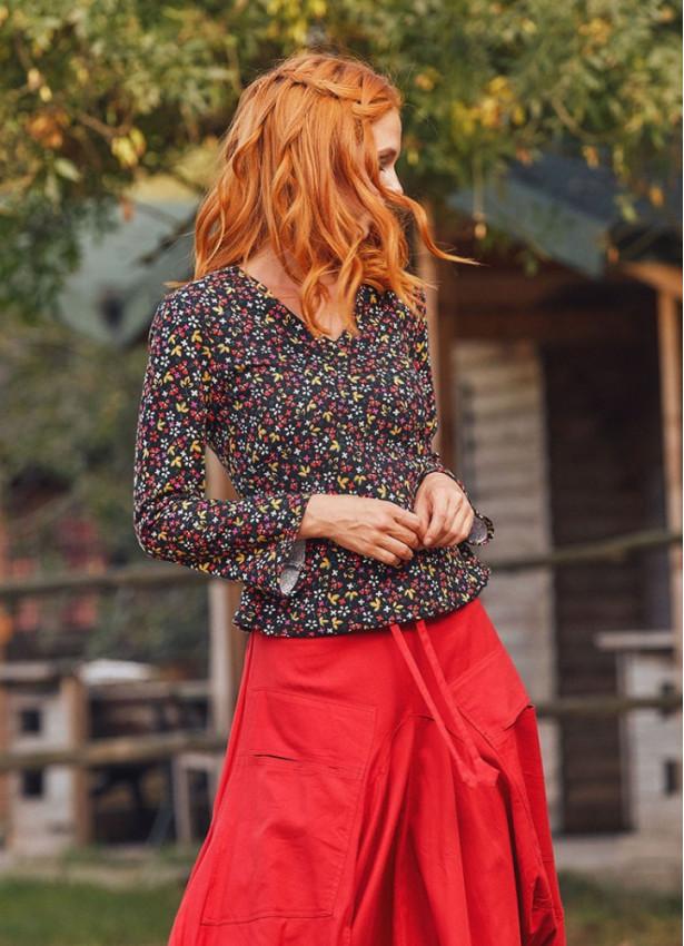 Bohem Bağcıklı Siyah Desenli Uzun Kollu Koton Kadın Bluz