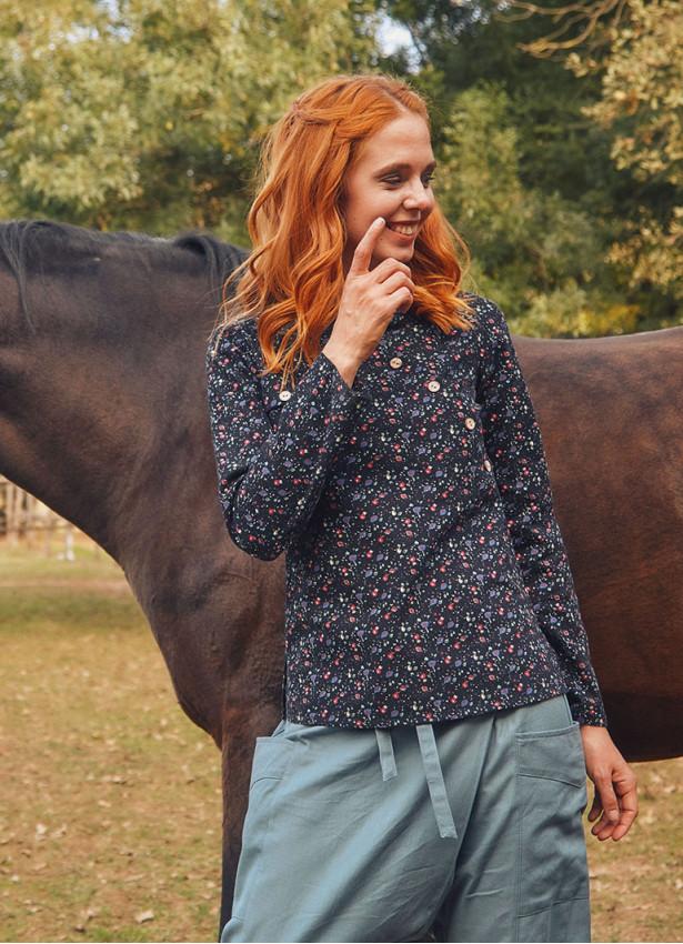 Çapraz Düğmeli Uzun Kollu Siyah Çiçekli Bluz