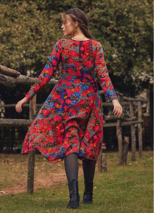 Roma Desen Uzun Kollu Asimetrik Kesim Kışlık Kadın Elbise