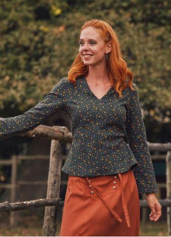 Bohem Bağcıklı Yeşil Desenli Uzun Kollu Koton Kadın Bluz