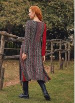 Otantik Desenli Uzun Kollu Asimetrik Kesim Kışlık Kadın Elbise