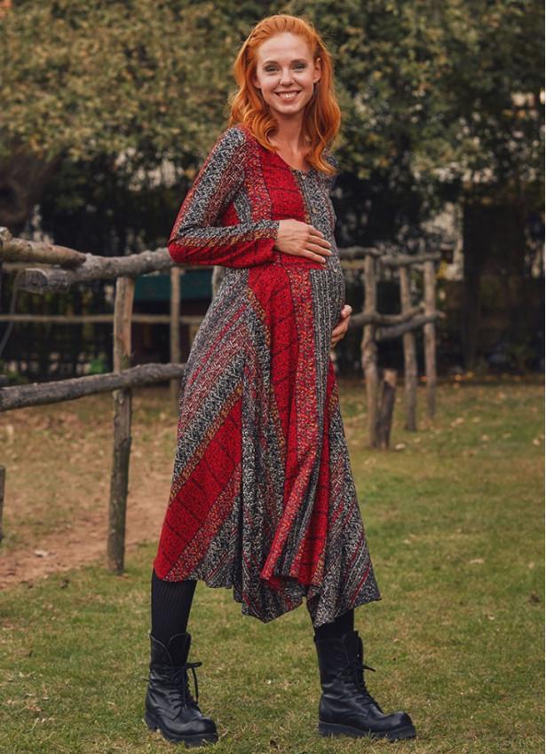 Otantik Desenli Uzun Kollu Asimetrik Kesim Kışlık Hamile Elbise