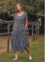 Otantik Havuz Yaka Yarım Kollu Turkuaz Desenli Uzun Elbise