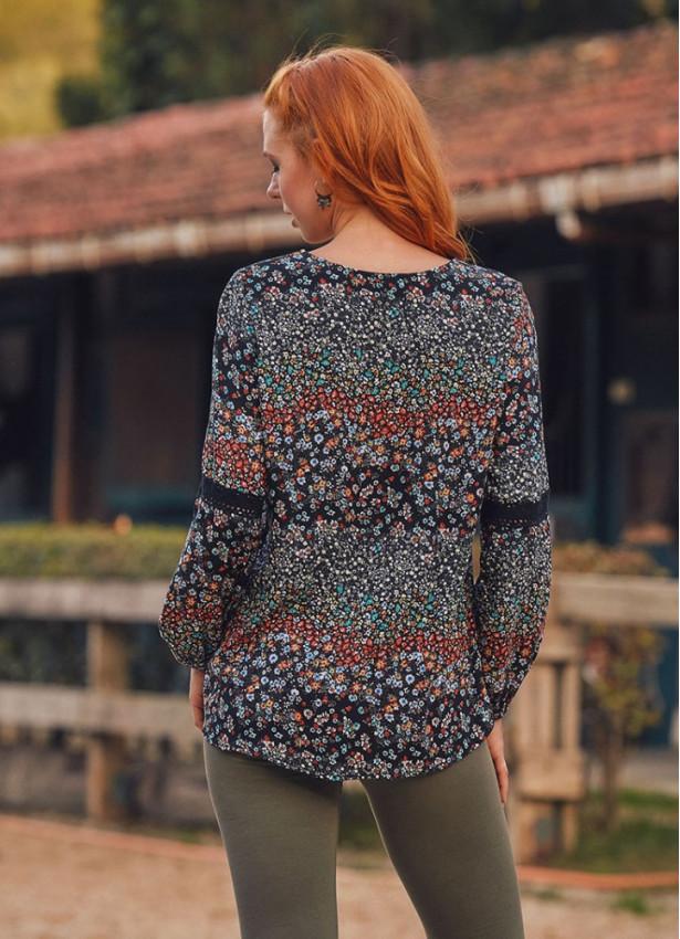 Çiçek Desenli Uzun Kollu Bohem Kadın Bluz