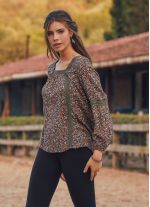 Uzun Kollu Bohem Oranj Dağ Çiçeği Kadın Bluz