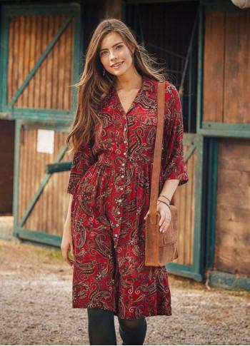 Kırmızı Şal Desen Gömlek Elbise