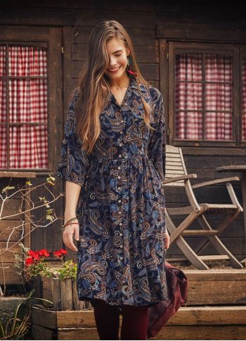 Lacivert Şal Desen Gömlek Elbise