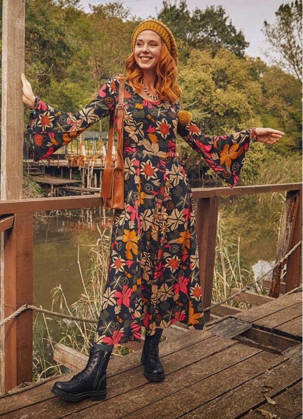 Çiçek Desenli Kayık Yaka Belden Bağlamalı İspanyol Kol Kadın Elbise