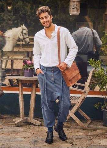 İndigo Bağcık Detaylı Düğmeli Cepli Şalvar Pantolon