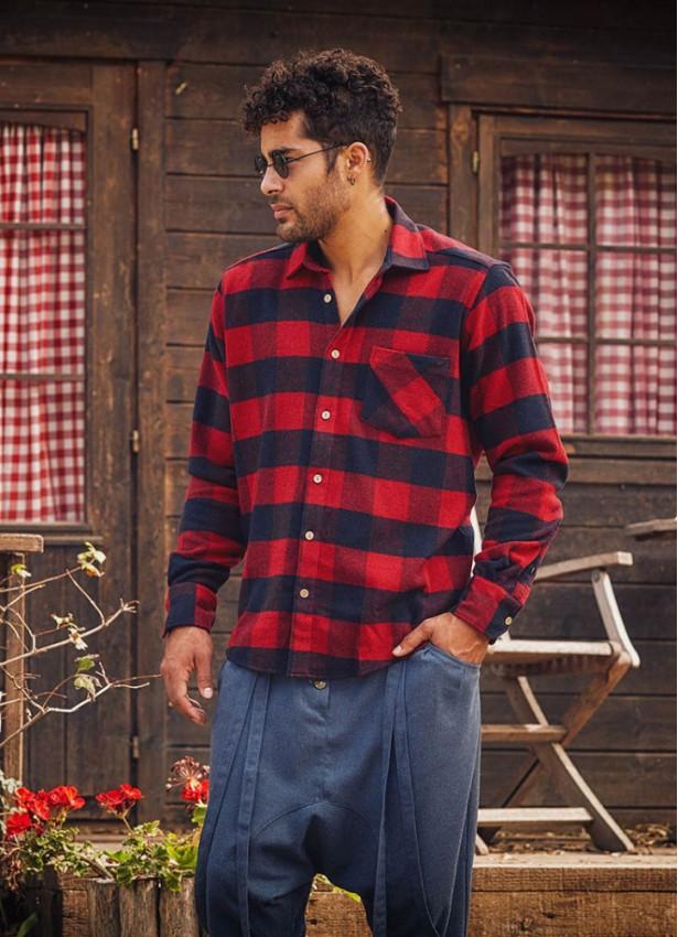 Uzun Kollu Kırmızı Ekose Oduncu Erkek Gömleği