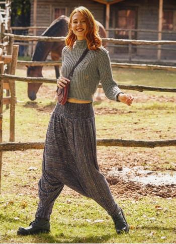Gipe Bel Detaylı Örme Kışlık Kadın Şalvar Pantolon