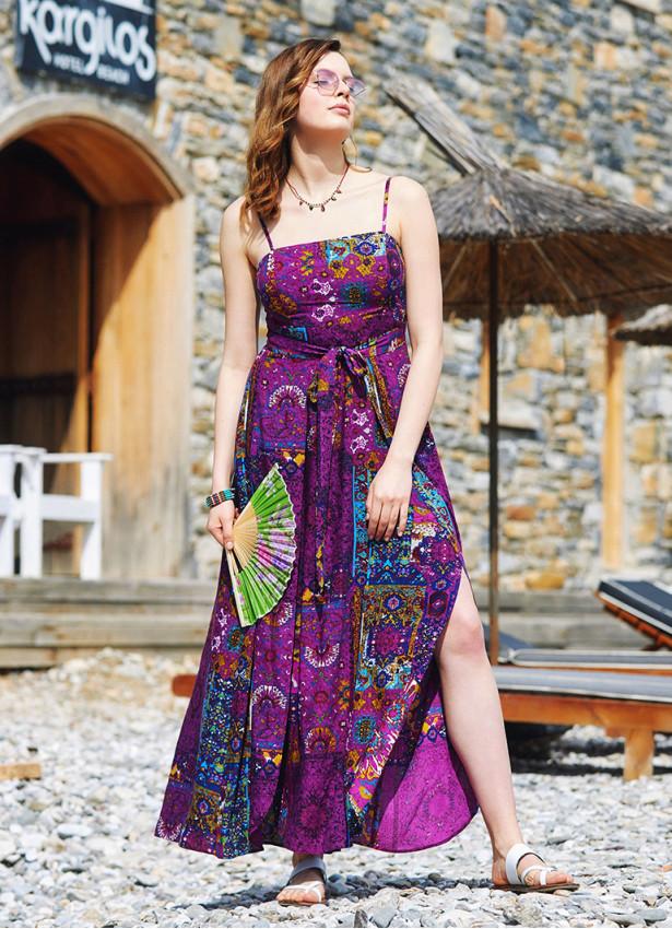 Askılı Belden Bağlamalı Desenli Elbise