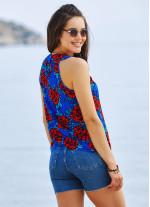 Çiçek Desenli Pileli Bohem Tarz Kolsuz Bluz
